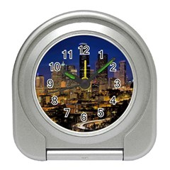 Skyline Downtown Seattle Cityscape Travel Alarm Clocks by Simbadda
