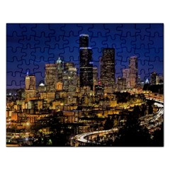 Skyline Downtown Seattle Cityscape Rectangular Jigsaw Puzzl by Simbadda
