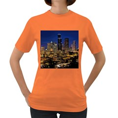 Skyline Downtown Seattle Cityscape Women s Dark T Shirt by Simbadda