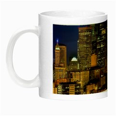 Skyline Downtown Seattle Cityscape Night Luminous Mugs by Simbadda