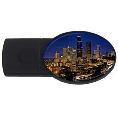 Skyline Downtown Seattle Cityscape Usb Flash Drive Oval (4 Gb) by Simbadda