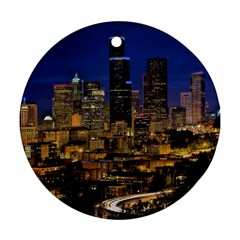Skyline Downtown Seattle Cityscape Round Ornament (two Sides) by Simbadda