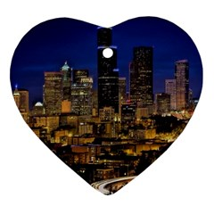 Skyline Downtown Seattle Cityscape Heart Ornament (two Sides) by Simbadda
