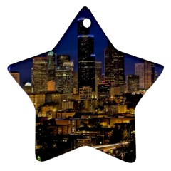 Skyline Downtown Seattle Cityscape Star Ornament (two Sides) by Simbadda