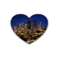 Skyline Downtown Seattle Cityscape Rubber Coaster (heart)  by Simbadda