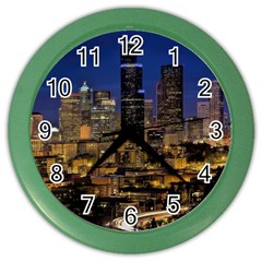 Skyline Downtown Seattle Cityscape Color Wall Clocks by Simbadda