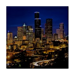 Skyline Downtown Seattle Cityscape Face Towel by Simbadda