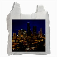 Skyline Downtown Seattle Cityscape Recycle Bag (one Side) by Simbadda