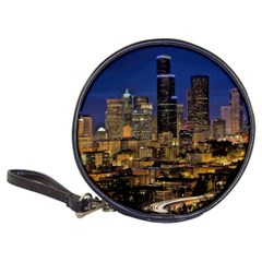 Skyline Downtown Seattle Cityscape Classic 20 Cd Wallets by Simbadda