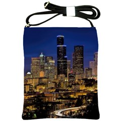 Skyline Downtown Seattle Cityscape Shoulder Sling Bags by Simbadda