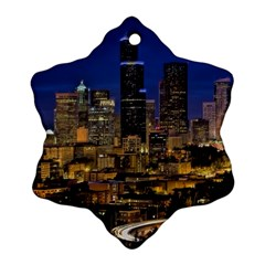Skyline Downtown Seattle Cityscape Snowflake Ornament (two Sides) by Simbadda