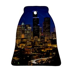 Skyline Downtown Seattle Cityscape Bell Ornament (two Sides) by Simbadda
