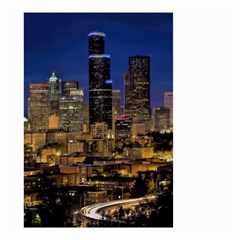 Skyline Downtown Seattle Cityscape Small Garden Flag (two Sides) by Simbadda
