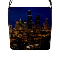 Skyline Downtown Seattle Cityscape Flap Messenger Bag (l)  by Simbadda