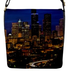 Skyline Downtown Seattle Cityscape Flap Messenger Bag (s) by Simbadda