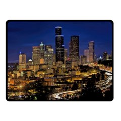 Skyline Downtown Seattle Cityscape Double Sided Fleece Blanket (small)  by Simbadda