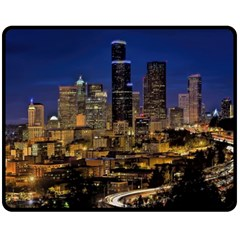 Skyline Downtown Seattle Cityscape Double Sided Fleece Blanket (medium)  by Simbadda