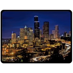 Skyline Downtown Seattle Cityscape Double Sided Fleece Blanket (large)  by Simbadda
