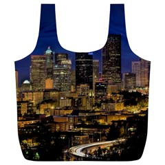 Skyline Downtown Seattle Cityscape Full Print Recycle Bags (l)  by Simbadda