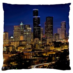 Skyline Downtown Seattle Cityscape Large Flano Cushion Case (two Sides)