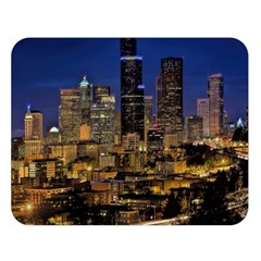 Skyline Downtown Seattle Cityscape Double Sided Flano Blanket (large)  by Simbadda