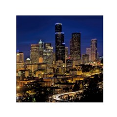 Skyline Downtown Seattle Cityscape Small Satin Scarf (square) by Simbadda