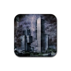 Digital Art City Cities Urban Rubber Coaster (square)