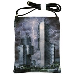 Digital Art City Cities Urban Shoulder Sling Bags by Simbadda
