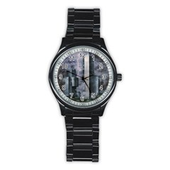 Digital Art City Cities Urban Stainless Steel Round Watch