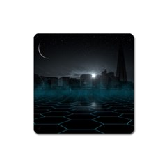 Skyline Night Star Sky Moon Sickle Square Magnet by Simbadda