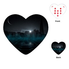 Skyline Night Star Sky Moon Sickle Playing Cards (heart)