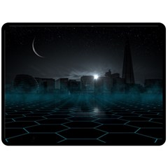 Skyline Night Star Sky Moon Sickle Fleece Blanket (large)