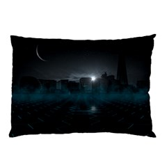 Skyline Night Star Sky Moon Sickle Pillow Case (two Sides)