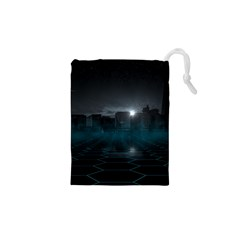 Skyline Night Star Sky Moon Sickle Drawstring Pouches (xs)  by Simbadda