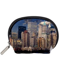 New York Skyline Manhattan Hudson Accessory Pouches (small)  by Simbadda