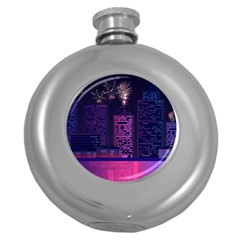 Architecture Home Skyscraper Round Hip Flask (5 Oz) by Simbadda
