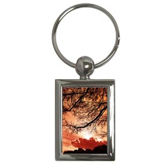 Tree Skyline Silhouette Sunset Key Chains (rectangle)  by Simbadda