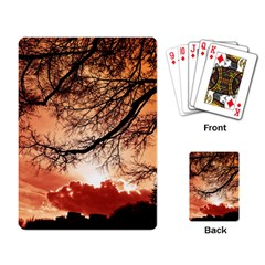 Tree Skyline Silhouette Sunset Playing Card by Simbadda