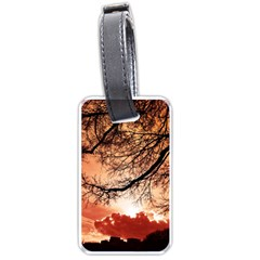 Tree Skyline Silhouette Sunset Luggage Tags (one Side)  by Simbadda