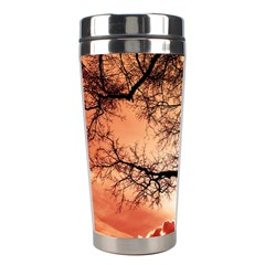 Tree Skyline Silhouette Sunset Stainless Steel Travel Tumblers by Simbadda