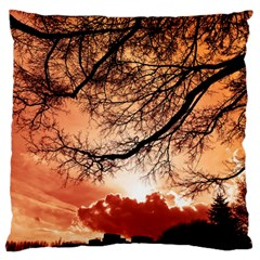 Tree Skyline Silhouette Sunset Standard Flano Cushion Case (two Sides)