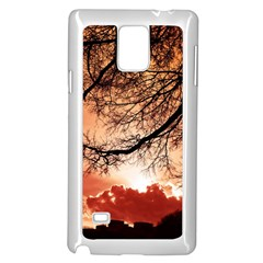 Tree Skyline Silhouette Sunset Samsung Galaxy Note 4 Case (white) by Simbadda