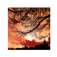 Tree Skyline Silhouette Sunset Small Satin Scarf (square) by Simbadda