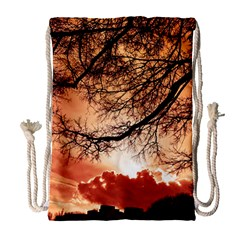 Tree Skyline Silhouette Sunset Drawstring Bag (large)