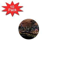 Cityscape Night Buildings 1  Mini Magnet (10 Pack)
