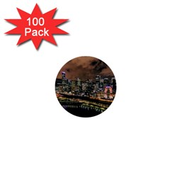 Cityscape Night Buildings 1  Mini Buttons (100 Pack)