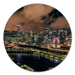Cityscape Night Buildings Magnet 5  (round) by Simbadda