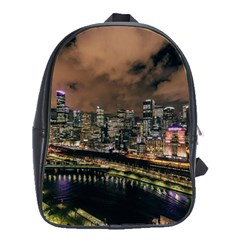 Cityscape Night Buildings School Bag (large)