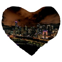 Cityscape Night Buildings Large 19  Premium Heart Shape Cushions