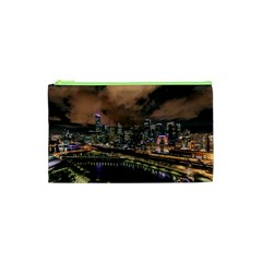 Cityscape Night Buildings Cosmetic Bag (xs)